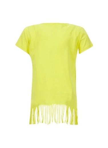 DeFacto Kız Çocuk Avokado Baskılı Kısa Kol Tişört Sarı